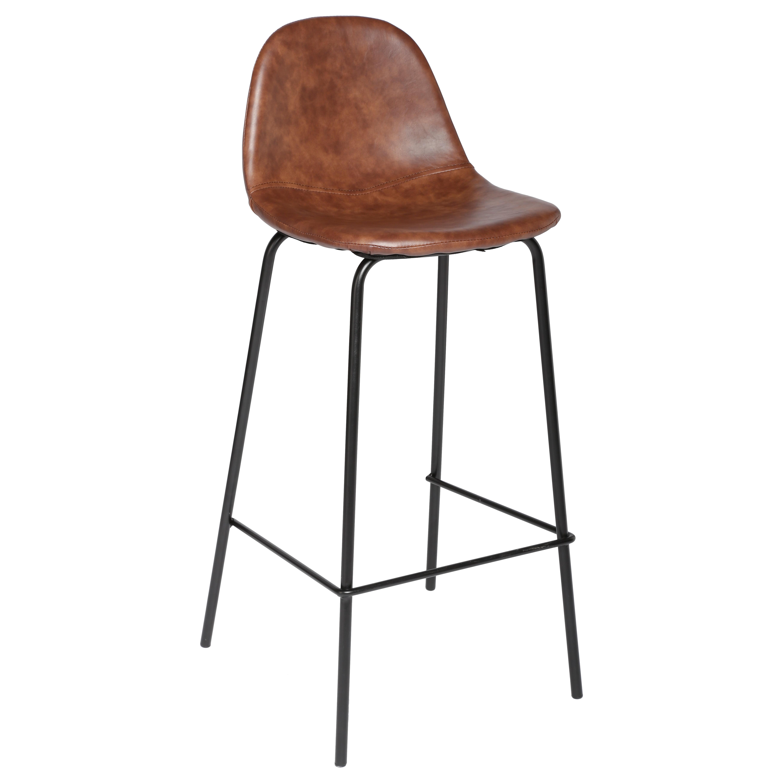 shopchaise et tabourettabouret bar vladi metal et simili cuir marron - Tabouret De Bar En Cuir