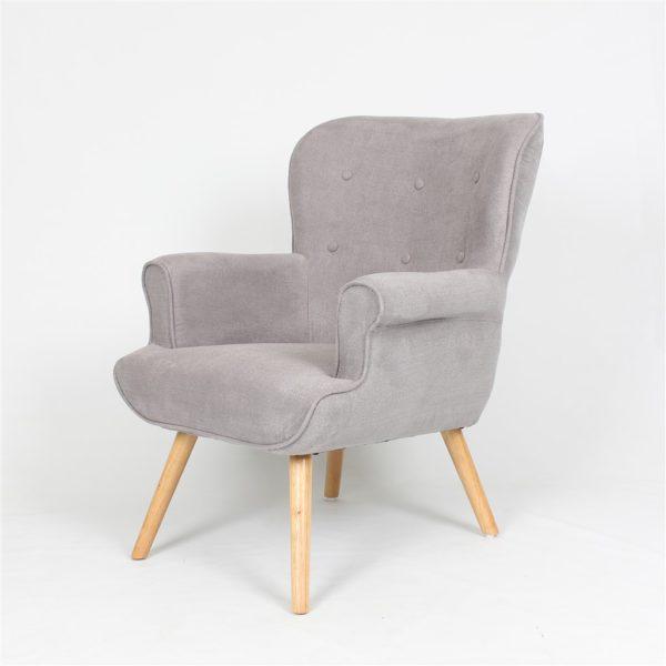 fauteuil pinto tissu et bois gris - Fauteuil En Tissu